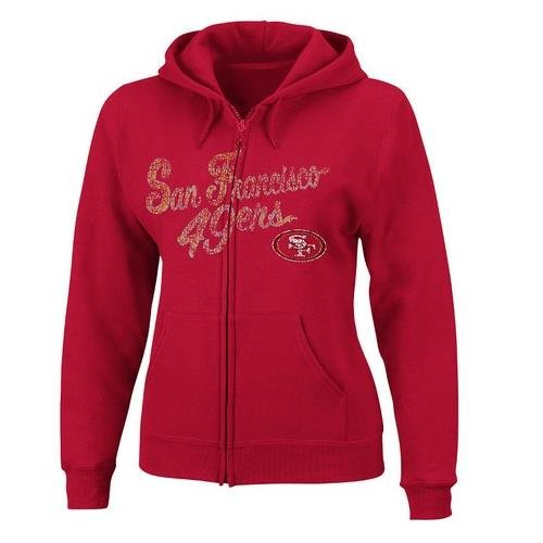 VF LSG NFL Damen Kapuzenpullover San Francisco 49ers Long Sleeve Full Zip Fleece Hoodie, Jungen, Scharlachrot, XX-Large Long Sleeve Full Zip Fleece