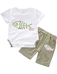 Logobeing Conjunto de Bebé Niño Verano Hueso de Pescado Impresión Mangas  Corta Camisa y Pantalones Cortos cf4fa0a85b94
