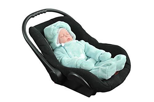 MoMika Baby Strampler. Unisex Baby Overall. Neugeborene & Kleinkinder Strampler mit Kapuze. Baumwolle und Minky Kuschelstoff | Maus (62cm/3-6 Monate, Minze)