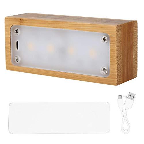 Holz Schreibtisch Nachtlicht, USB Wiederaufladbare LED Augenschutz Schreibtisch Nachtlampe Berührungsschalter Rechteck Form Schlafzimmer Nachttischlampe(Bambus) - Rechteck Schublade