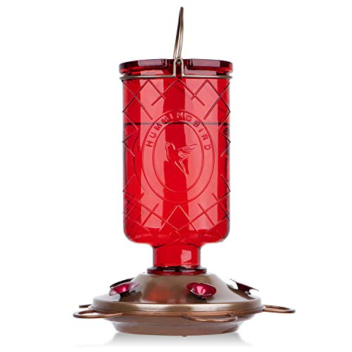 BOLITE Futterstation Kolibri, Vintage-Glasflasche, Kolibris Red Elixir Bottle rot - Red Glass Hummingbird Feeder