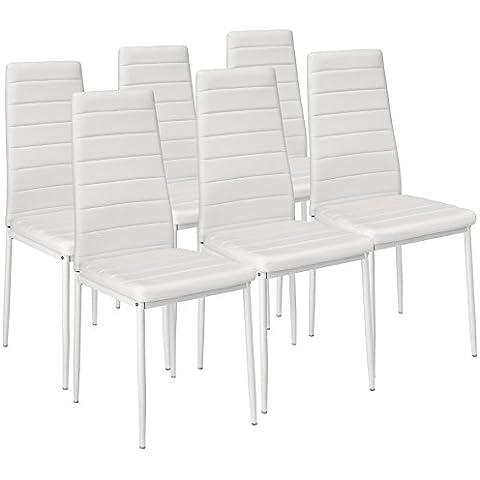 TecTake Set de 6 sillas de comedor 41x45x98,5cm blanco
