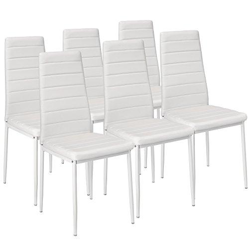 TecTake Set di 6 sedie per sala da pranzo 41x45x98,5cm bianco