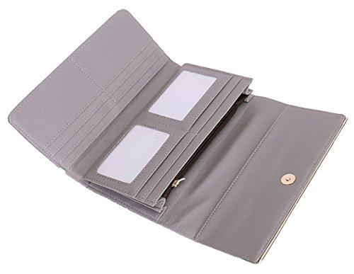 Pelle UKFS delle donne delle signore adattano a frizione lungo Bowknot borsa del portafoglio della moneta Grigio