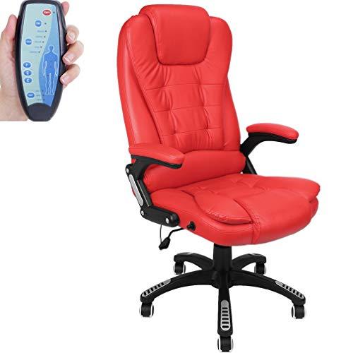 YESPER Massage-Bürostuhl mit 6-Punkt-Massagesessel Relax Sessel Drehstuhl Chefsessel, Höhenverstellung, PU, 150kg belastbar (Rot)