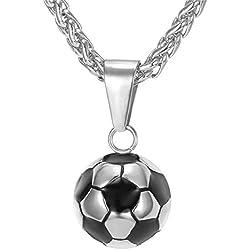 U7 Collier Homme Acier Inoxydable Chaîne Pendentif Ballon de Football Bijoux Sportif Necklace Pendant pour Garçon (Argenté)