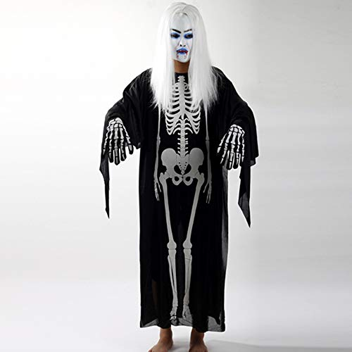 Fanfan Halloween Horror Maske Latex Weiße Haare Vampir Maske Weiße Lange Haare Scary Maske Ghost Company Jahresversammlung,Headgear+Clothes