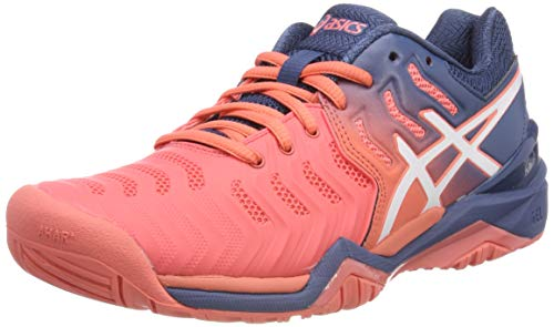 ASICS Damen Gel-Resolution 7 Tennisschuhe, Rot (Papaya/White 701), 43.5 EU Sprint-gel