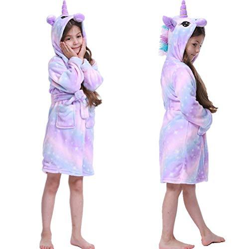 Coralup - Albornoz para niño, diseño de Unicornio, de Forro Polar, cómodo, de Franela...