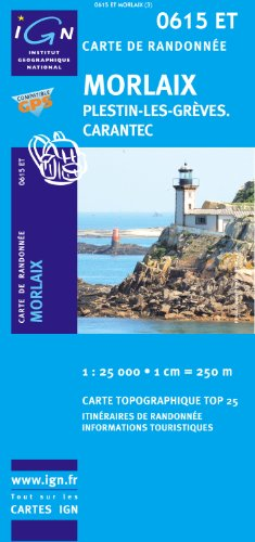 Top25 0615ET - Morlaix, Plestin-les-Greves, Carantec Wanderkarte mit einem kostenlosen Maßstabslineal