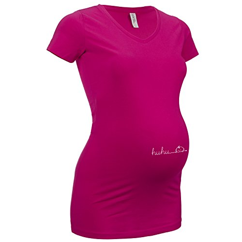 ShirtWorld - Huhu - Damen Stretch T-Shirt Extralang Pink