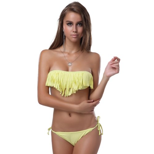 Hot Nettes sexy Frauen Lady Boho Fringe Tassel trägerlose Bandeau Fringe Bikini Bademode Badeanzug Bademode Bade Anzug Top und Unter Yellow