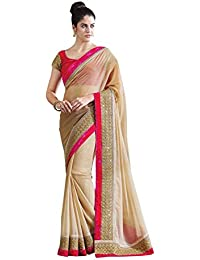 Anshika Lifestyle Beige Chiffon Chick Look Designer Lace Border Saree With Fancy Blouse Piece