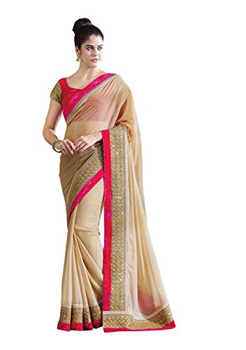 Anshika Lifestyle Beige Chiffon Chick Look Designer Lace Border Saree With Fancy Blouse Piece  available at amazon for Rs.399