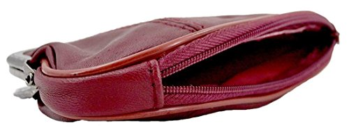 Kukubird Geniune Pelle Con Chiusura Superiore E Inferiore Zip Dettaglio Medio Ladies Borsa Clutch Wallet Burgundy