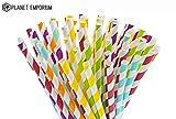 Papier réutilisable jetables Eco pailles par Planet Emporium | coloré fantaisie Décorations biodégradable écologique | pour fête de mariage bébé Shower| à motif Funky Carton pailles | Lot de 150
