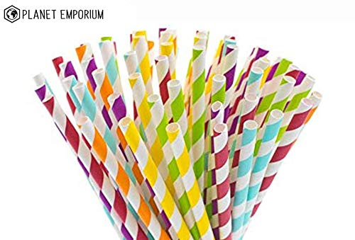 Planet Emporium - Einweg-Strohhalme aus Papier, wiederverwendbar, umweltfreundlich, bunt, dekorativ, biologisch abbaubar, für Partys, Hochzeiten, Babypartys, gemusterte Karton-Strohhalme, 100 Stück (Gemusterte Papier Strohhalme)