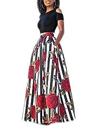 32bab040c46147 Donna Vestiti Lunghi Due Pezzi Senza Spalline Manica Corta Camicetta + Rosa  Stampa Gonne Lungo Elegante