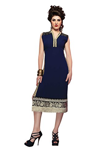 Khushali Women's Stitched Georgette Kurti (MG1001L_Blue)