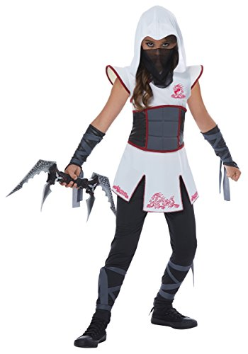 Girls White Ninja Fancy Dress Costume Large