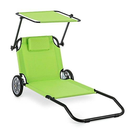 Blumfeldt Maritimo - Chaise longue Bain de soleil sur roulettes (pliable, filet de rangement arrière, parasol) - vert