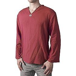 Lofbaz Hombre Thai Camiseta de cuello en V Long Sleeve Rojo S