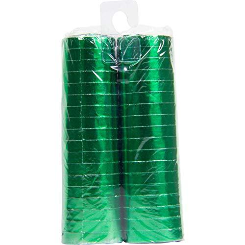 Folat Luftschlangen Metallic Grün 4m - 2 Stück - Grüne Luftschlangen