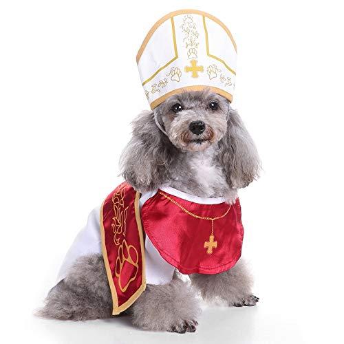(TYJY Papst Hundekostüme Halloween Hund Kleidung Hund Cosplay Pate Anzug Mit Hut Kleine Hunde Kleid Xmas Party Kostüm)