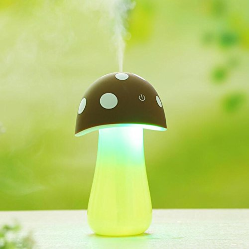 Flikool USB Champignon Humidificateur LED Lumiere Diffuseur Aromatique Purificateur d'air Atomiseur Arome Aromathrapie - Marron