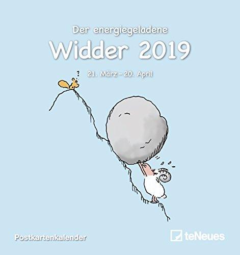 Sternzeichen Widder 2019 - Sternzeichenkalender, Horoskop, Postkartenkalender  -  16 x 17 cm