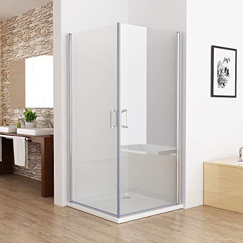 MIQU 90x80x185cm Duschkabine Eckeinstieg 180° Schwingtür Duschwand Dusche mit 6mm NANO Glas