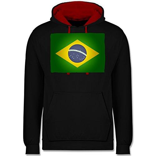 Länder - Flagge Brasilien - Kontrast Hoodie Schwarz/Rot