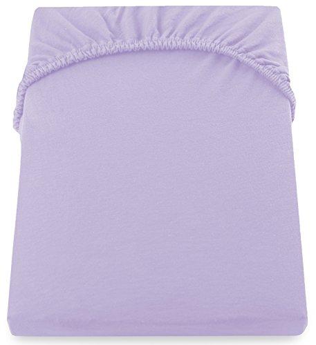 DecoKing 18170 80x200-90x200 cm Spannbettlaken violett 100% Baumwolle Jersey Boxspringbett Spannbetttuch Bettlaken Betttuch Violet Amber Collection - 5