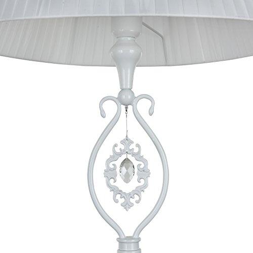 Elegante klassische Stehleuchte, weißes Metall, weißes Plisee-Schirm aus Organza, Kristall Dekor, 1-flammig, exkl. E27 1x40W, 220-240V