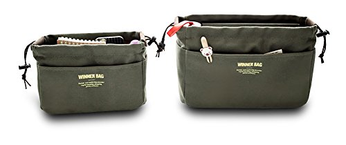 Finex - SET Of 2 - CANVAS Matching Portable Travel Organizer Wallet Holder Toiletry Bags Cosmetic Bag - GREEN
