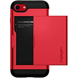Spigen Etui iPhone 8, Coque iPhone 7/8, [Slim Armor CS] Slim Fit Protection Double Couche [Rouge] Fente pour Carte/Coque Etui Housse pour iPhone 7 (2016) / iPhone 8 (2017) - (042CS21725)