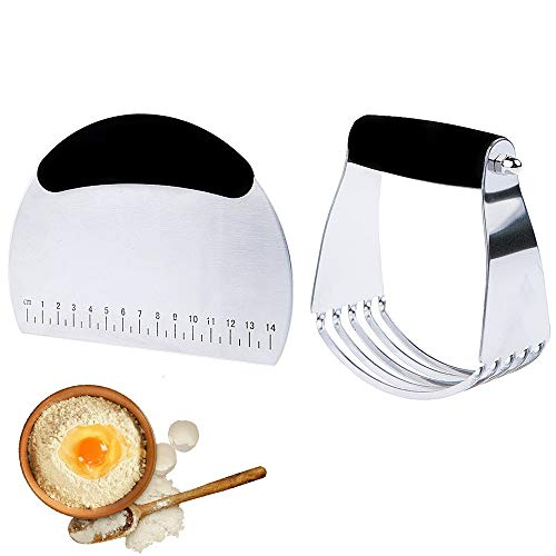 LARRY SHELL Konditorei & Dough Scraper Set Edelstahl Mehrzweck-Scraper/Pizza Dough Blender/Chopper-Premium Kitchen Konditor-Set für das Backen (Blender Chopper Und)