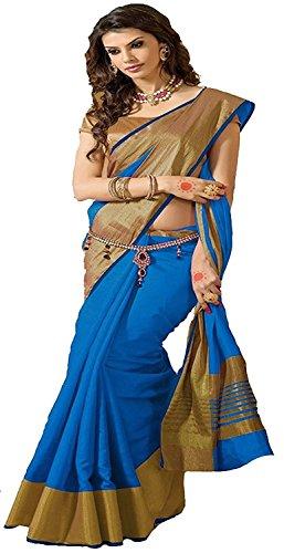 Indian Beauty Cotton Silk Saree (TESSER-HIT-SKY=BLUE1_Blue_Free Size)