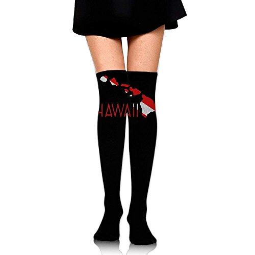 ruichangshichengjie Women's Knee High Sport Long Sock Hawaii Scuba Dive Flag for Soccer Sport Long Stockings (Soccer Sock Tape)