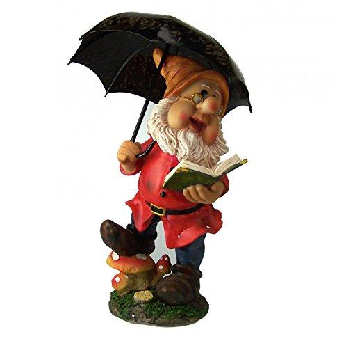 Zwerg mit Regenschirm. Polyresin. Gartenzwerg. 2 Ausführungen. 38 cm., Gartenzwerge:F1486 Zwerg mit rote Jacke
