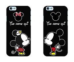 Idea Regalo - troppofigo Coppia Cover iPhone Minnie e Topolino Personalizzate con Nomi,Resistente in Gomma Nera