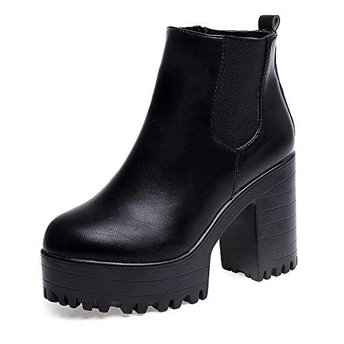 Oudan Stiefel Damen Schuhe Damenstiefel Quadratische Fersen Plattform Leder Schenkel Hohe Pumpe Lädt Schuhe auf Women Klassische Stiefeletten Boots (Farbe : Schwarz, Größe : 39 EU)