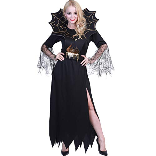 EraSpooky Damen Hexe Kostüm Faschingskostüme Cosplay Halloween Party Karneval Fastnacht Kleid für Erwachsene