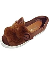 Zapatos de Vestir Chic para Mujer Otoño PAOLIAN Calzado de Dama Lana Plano  Terciopelo con Orejas de Conejo Suela… 0048f230e25f