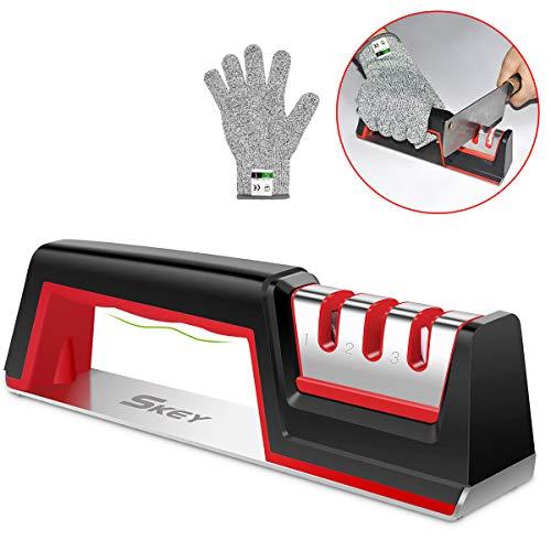 SKEY Messerschaerfer mit kratzfesten Handschuh, 3 Stufen Messerschärfer, Messerschleifer Knife Sharpener mit Messer Schärfen Enorm Effektiv für Edelstahl und Keramikmesser Aller Größen, Rutschfestem