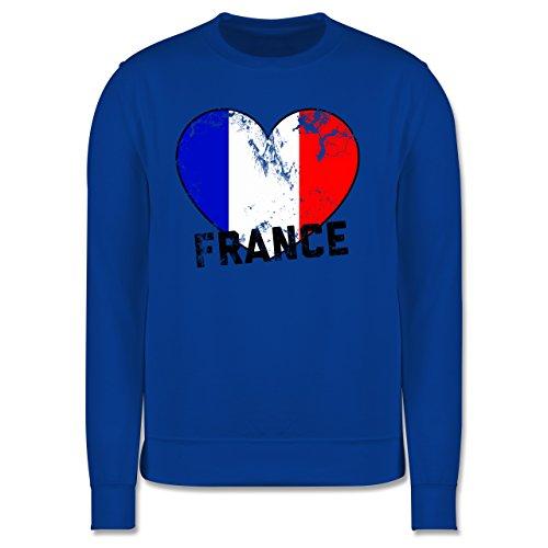 EM 2016 - Frankreich - France Herz Vintage - Herren Premium Pullover Royalblau