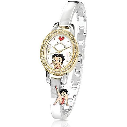 The Bradford Exchange - Hora de travesuras - Reloj de Betty Boop - Diamante de 0,5 ct, cristales de Swarovski y oro