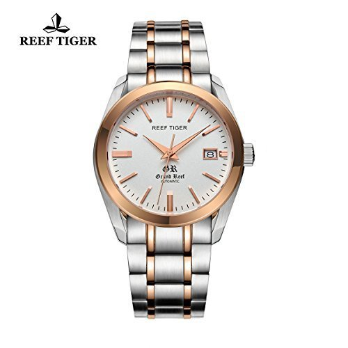 Mens Dress Watch with Date Rose Gold Stainless Steel White Dial Automatic Watches RGA818
