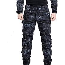Hombres Shooting BDU Combate Pantalones Pantalones con rodilleras Typhon Kryptek tipo para ejército militar táctico para Airsoft y Paintball, color Typhon Kryptek, tamaño XXL