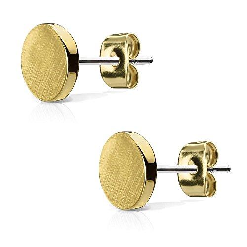 Bungsa© goldenes OHRSTECKER SET rund gebürstet - goldene, runde Ohrringe mit gebürsteter Oberfläche - EDELSTAHL Ohrstecker in gold 7mm - Ohr-Schmuck für Damen & Herren - 1 Paar goldfarben